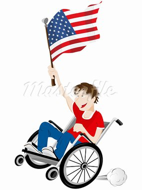 Vector - USA Sport Fan Supporter on Wheelchair with Flag Stock Photo - Royalty-Free, Artist: gubh83                        , Code: 400-05911538