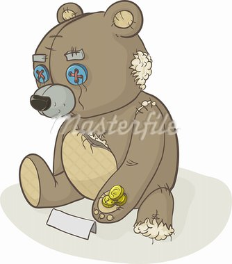 Old torn toy. Toy teddy bear. A beggar asks for alms. Stock Photo - Royalty-Free, Artist: 1507kot                       , Code: 400-05911950