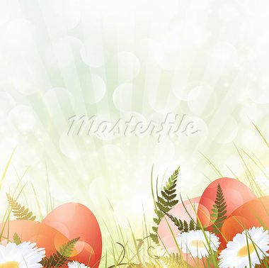 Easter theme with eggs and spring sunny meadow Stock Photo - Royalty-Free, Artist: SNR                           , Code: 400-05912060