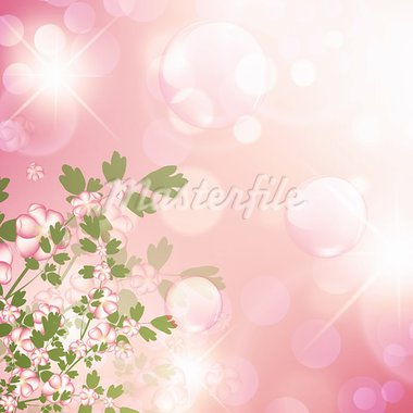 floral bubbly background with stars in pink Stock Photo - Royalty-Free, Artist: SNR                           , Code: 400-05912070
