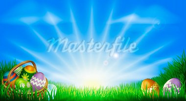 Easter background with decorated Easter eggs and Easter eggs in basket in a sunny field Stock Photo - Royalty-Free, Artist: Krisdog                       , Code: 400-05912264