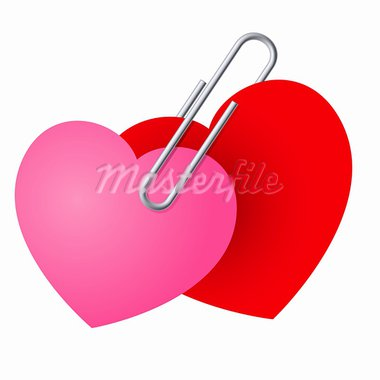 Two Hearts Pinned Together. St. Valentines Day illustration Stock Photo - Royalty-Free, Artist: dvarg                         , Code: 400-05913854