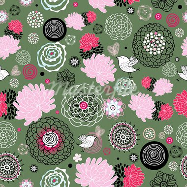 Seamless floral pattern with birds on a dark green background Stock Photo - Royalty-Free, Artist: tanor                         , Code: 400-05914114