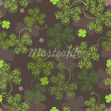 Decorative seamless background with green trefoil pattern. Stock Photo - Royalty-Free, Artist: tatianat                      , Code: 400-05914815