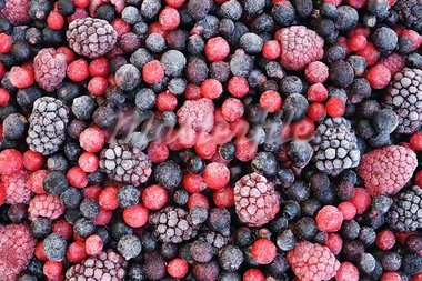 Close up of frozen mixed fruit  - berries - red currant, cranberry, raspberry, blackberry, bilberry, blueberry, black currant Stock Photo - Royalty-Free, Artist: brozova                       , Code: 400-05915113