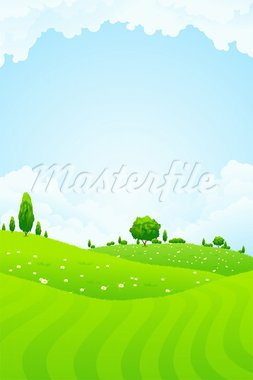 Green Landscape with trees clouds and flowers Stock Photo - Royalty-Free, Artist: WaD                           , Code: 400-05917106