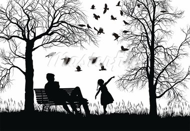 vector illustration of a young family in the park, trees and crows Stock Photo - Royalty-Free, Artist: Ard                           , Code: 400-05917212