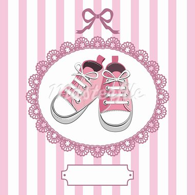 Pink shoes or pair kids sneaker background, oval lace frame, ribbon and shield for you text Stock Photo - Royalty-Free, Artist: ElaKwasniewski                , Code: 400-05917368