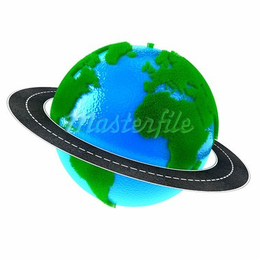 Planet Earth with green grass and road around Stock Photo - Royalty-Free, Artist: FotoVika                      , Code: 400-05917409