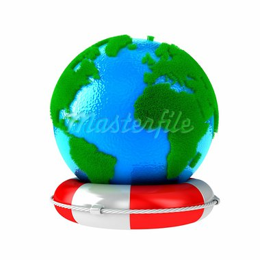 Illustration of planet Earth with green grass on a lifebuoy Stock Photo - Royalty-Free, Artist: FotoVika                      , Code: 400-05917410