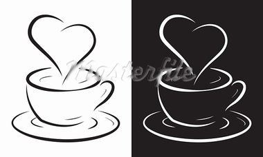 Coffee cup with heart symbol isolated on white, vector illustration. Stock Photo - Royalty-Free, Artist: antkevyv                      , Code: 400-05917720