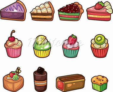 cartoon cake icons set   Stock Photo - Royalty-Free, Artist: notkoo2008                    , Code: 400-05917960