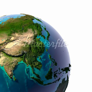 Earth with translucent water in the oceans and the detailed topography of the continents. A fragment of the Asia and Oceania. Isolated on white Stock Photo - Royalty-Free, Artist: Antartis                      , Code: 400-05918102