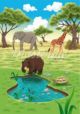 Animals in the nature. Vector realistic illustration. Stock Photo - Royalty-Free, Artist: ddraw                         , Code: 400-05919539