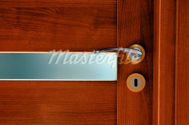 Interior door with frosted glass and steel handle. Stock Photo - Royalty-Free, Artist: Copestello                    , Code: 400-05919768