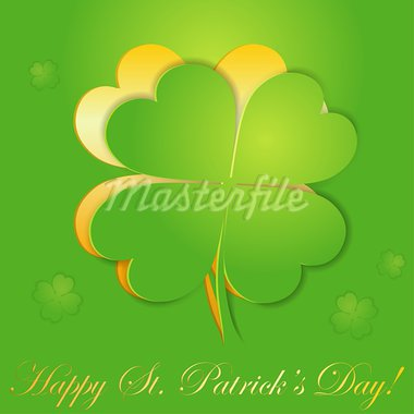 St. Patrick's Day sticker with leaf Shamrock (Clover), vector illustration Stock Photo - Royalty-Free, Artist: TAlex                         , Code: 400-05920218