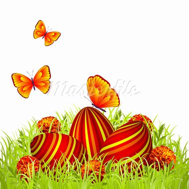 Three Easter eggs in the grass with flowers and butterflies Stock Photo - Royalty-Free, Artist: tassel78                      , Code: 400-05920317
