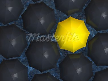 Bright yellow umbrella among set of black umbrellas. Stock Photo - Royalty-Free, Artist: RomanenkoAlexey               , Code: 400-05920364