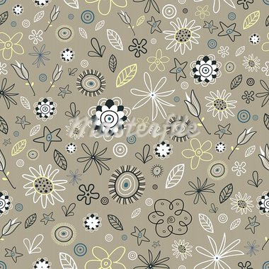 Seamless fine floral pattern on a brown background Stock Photo - Royalty-Free, Artist: tanor                         , Code: 400-05920464