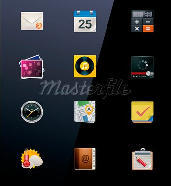 Set of generic mobile gadgets apps icons Stock Photo - Royalty-Free, Artist: tele52                        , Code: 400-05920590