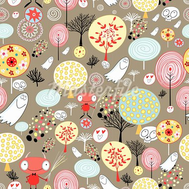 seamless pattern of fairy-tale forests and ghosts on a brown background Stock Photo - Royalty-Free, Artist: tanor                         , Code: 400-05920652