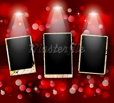 Antique distressed photoframes with old dirty look on a vintage glitter wallpaper. Frames are featured by led spotlights.Shadows are transparent. Stock Photo - Royalty-Free, Artist: DavidArts                     , Code: 400-05920956