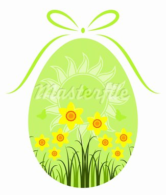 vector easter egg with daffodils and sun decor on white background, Adobe Illustrator 8 format Stock Photo - Royalty-Free, Artist: beta757                       , Code: 400-05921014