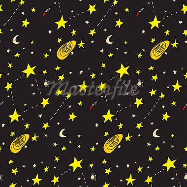 Seamless background of ships, stars, galaxies and moons Stock Photo - Royalty-Free, Artist: theblackrhino                 , Code: 400-05923856