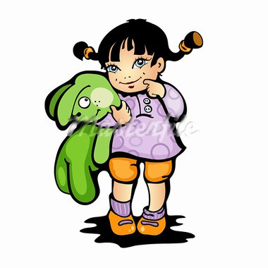 Vector illustration of a girl with green bunny Stock Photo - Royalty-Free, Artist: katarinka                     , Code: 400-05924008