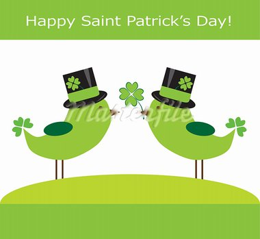 Happy Saint Patrick's Day birds with four leave clovers Stock Photo - Royalty-Free, Artist: keeweegirl                    , Code: 400-05924710