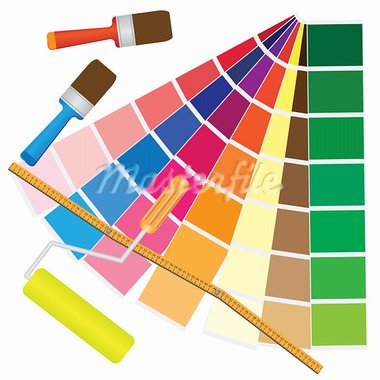 Brushes and papers with coloured samples for renovation. Also available as a Vector in Adobe illustrator EPS 8 format, compressed in a zip file. Stock Photo - Royalty-Free, Artist: Neokryuger                    , Code: 400-05927741