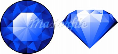 Sapphire from two perspectives over white. EPS 10, AI, JPEG Stock Photo - Royalty-Free, Artist: jara3000                      , Code: 400-05927769