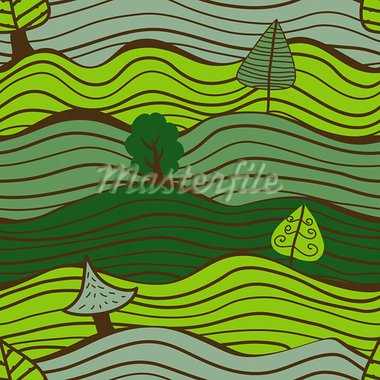Seamless green pattern with trees Stock Photo - Royalty-Free, Artist: ritenmorgen                   , Code: 400-05927869