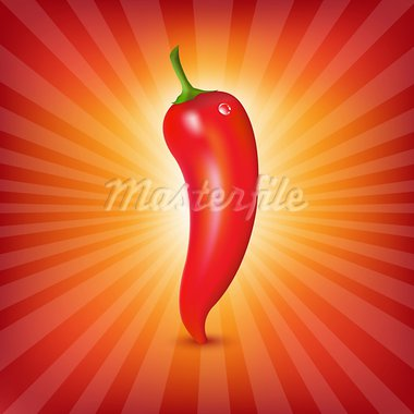 Red Hot Pepper With Sunburst, Vector Illustration Stock Photo - Royalty-Free, Artist: adamson                       , Code: 400-05928271