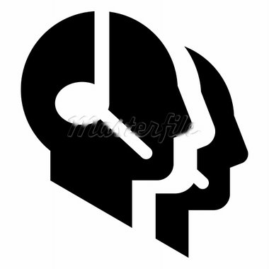 Three head profile silhouettes with headsets Stock Photo - Royalty-Free, Artist: furtaev                       , Code: 400-05928295