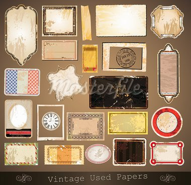 Vintage used papers and labels - A collection of different distressed retrò labels with several shapes and liquid drops on every surface. Stock Photo - Royalty-Free, Artist: DavidArts                     , Code: 400-05935051