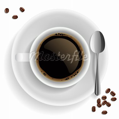 Cup of black coffee with coffee grain and spoon. On white background. Stock Photo - Royalty-Free, Artist: MiloArt                       , Code: 400-05938773
