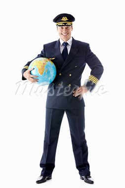The pilot with the globe on a white background Stock Photo - Royalty-Free, Artist: Deklofenak                    , Code: 400-05939219