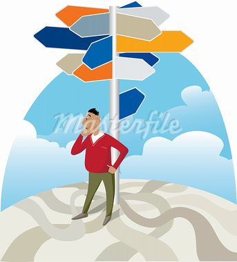 Vector illustration of a man looking for direction at signpost Stock Photo - Royalty-Free, Artist: V_g                           , Code: 400-05939253