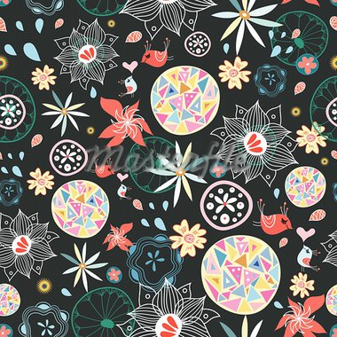 Seamless floral pattern with birds in love on a dark background Stock Photo - Royalty-Free, Artist: tanor                         , Code: 400-05939263