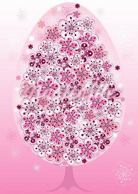 Easter frame with spring tree with pink flowers (vector) Stock Photo - Royalty-Free, Artist: OlgaDrozd                     , Code: 400-05946471