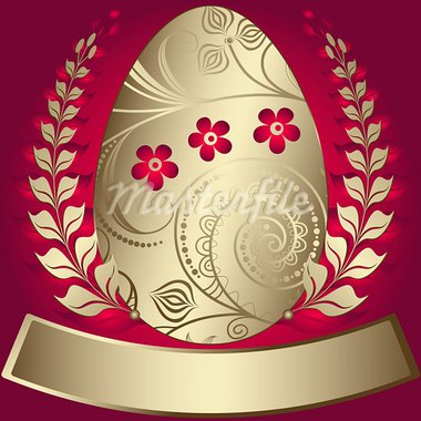 Gold elegance easter red frame with gold big egg (vector) Stock Photo - Royalty-Free, Artist: OlgaDrozd                     , Code: 400-05946665