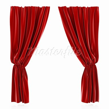 3d render of red curtain isolated at white background Stock Photo - Royalty-Free, Artist: kotist                        , Code: 400-05946773