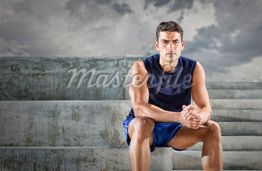 Portrait of Runner sitting on Bleacher Steps, Miami Beach, Florida, USA Stock Photo - Premium Royalty-Free, Artist: Peter Barrett, Code: 600-05947635