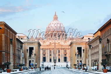 Via della Conciliazione and St Peter's Basilica in Winter, Rome, Lazio, Italy Stock Photo - Premium Rights-Managed, Artist: Siephoto, Code: 700-05948127
