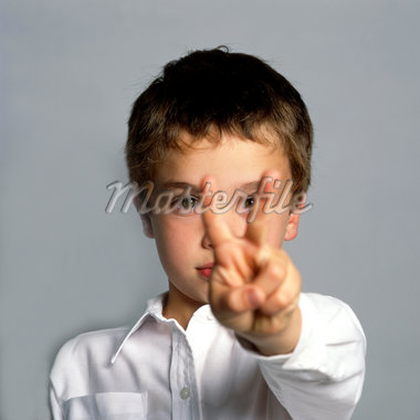 Boy Making Peace Sign Stock Photo - Premium Rights-Managed, Artist: ableimages, Code: 822-05948630