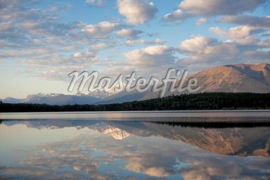 Mount Edith Cavell reflected in Pyramid Lake, early morning light, Jasper National Park, UNESCO World Heritage Site, British Columbia, Rocky Mountains, Canada, North America Stock Photo - Premium Rights-Managed, Artist: Robert Harding Images, Code: 841-05961764