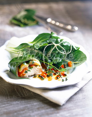 Chicken wrapped in Swiss chard leaves Stock Photo - Premium Rights-Managed, Artist: Photocuisine, Code: 825-05986776