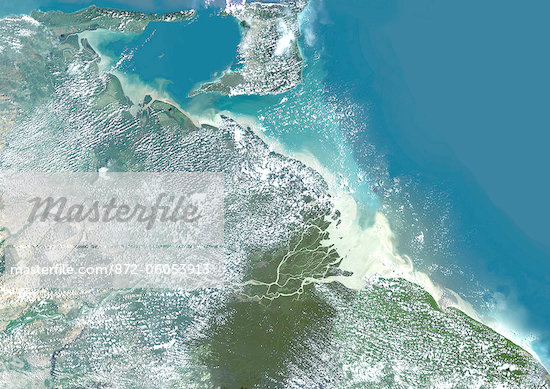 Orinoco Delta, Venezuela, True Colour Satellite Image. True colour satellite image of the Orinoco Delta in eastern Venezuela, The Orinoco river flows into the Atlantic ocean. At top is the island of Trinidad in the Caribbean sea. Composite image using LANDSAT 5 data. Stock Photo - Rights-Managed, Artist: Universal Images Group, Code: 872-06053913