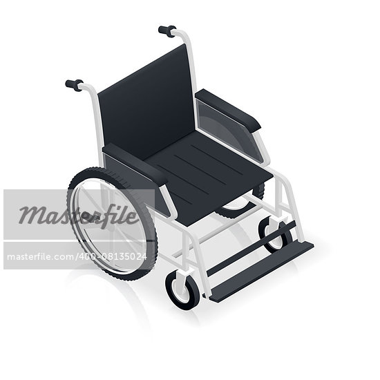 Wheelchair detailed isometric icon vector graphic illustration